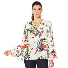 Colleen Lopez Printed Ruffle Blouse
