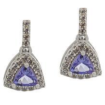 Colleen Lopez Purple Tanzanite & White Zircon Trilliant Drop Earrings