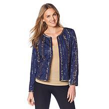 Colleen Lopez Sequin Striped Zip-Front Jacket