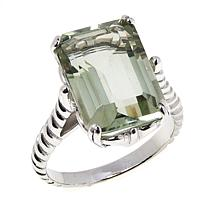 Colleen Lopez Sterling Silver Emerald-Cut Prasiolite Ring