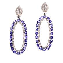 Colleen Lopez Sterling Silver Tanzanite and White Zircon Drop Earrings