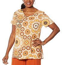 Curations Gauze Scalloped Top