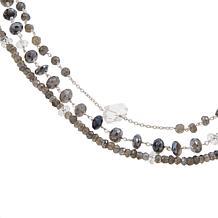"Deb Guyot Labradorite and Herkimer ""Diamond"" Quartz 32""  Necklace"