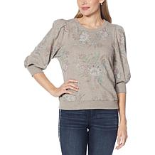 Democracy 3/4 Blouson Sleeve Printed French Terry Top