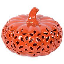 Design Imports Orange Lattice Ceramic LED Pumpkin