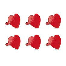 Design Imports Red Heart Napkin Ring Set of 6