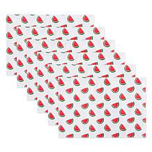 Design Imports Set of 6 Watermelon Print Outdoor Placemats