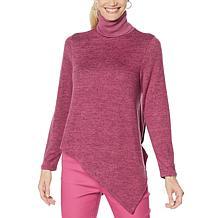 DG2 by Diane Gilman Asymmetric Hem Turtleneck Sweater