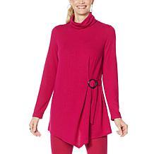 DG2 by Diane Gilman Cinched Waist Turtleneck Sweater