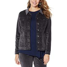 DG2 by Diane Gilman Stretch Velvet Jean Jacket