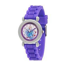 Disney Frozen 2 Elsa Kids' Grey Time Teacher Purple Strap Watch
