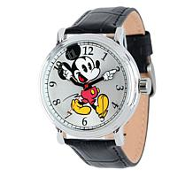 Disney Men's Mickey Mouse Moving Hands Leather Watch