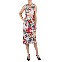 Donna Ricco Assymetrical Floral Knee Length Sheath Dress