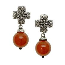Elyse Ryan Sterling Silver Orange Carnelian Bead and Cross Earrings