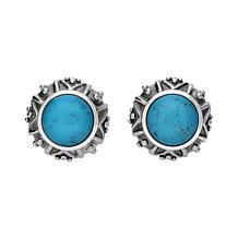 Elyse Ryan Sterling Silver Turquoise Button Earrings