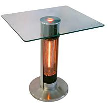 EnerG Infrared Electric Outdoor Heater and Square Glass Bistro Table