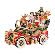 Fitz and Floyd Hand Painted Santa Musical Car