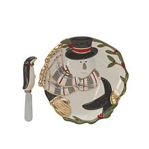 Fitz and Floyd Mistletoe Merriment Snack Plate with Spreader