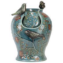 Foreside Home & Garden Verdigris Bird Indoor Water Fountain with Light