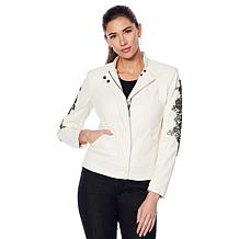 G by Giuliana Faux Leather Embroidered Moto Jacket