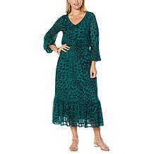 G by Giuliana Printed Mesh Tiered Midi Dress