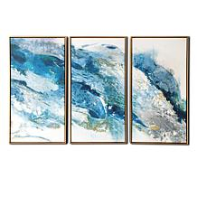 """Gallery 57 Abstract Regalite Triptych 48"""" x 30"""" Floating Canvas"""