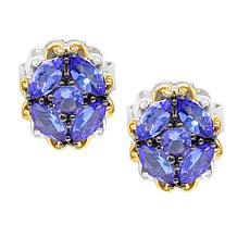 Gems by Michael 18K Goldtone Tanzanite Cluster Stud Earrings