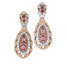 Gems by Michael Padparadscha and White Zircon Pear Drop Earrings