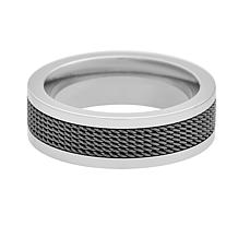 Geoffrey Beene Men's Stainless Steel Mesh Band Ring