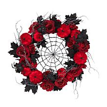 "Gerson 24"" Diameter Halloween Spider Web Wreath with Roses & Pumpkins"
