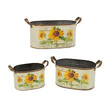 Gerson Assorted Metal Nesting Sunflower Decorative Buckets 3-pack
