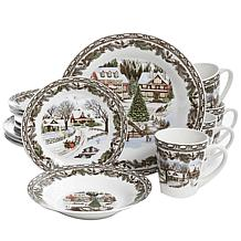 Gibson Home Christmas Nights 16-piece Porcelain Dinnerware Set