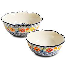 Gibson Home Trainway 2-piece Bowl Set with Floral Patterns