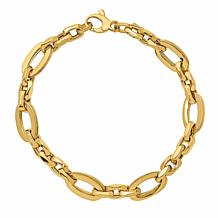 Golden Treasures 14K Italian Gold Oval-Link Bracelet