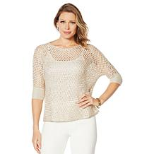 Heidi Daus Mesh Knit Sequin Sweater
