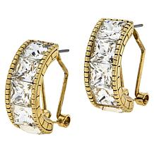 "Heidi Daus ""Snake Charmer"" Clear Stone Hoop Earrings"
