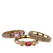 "Heidi Daus ""Triple Play"" Set of 3 Crystal Bangle Bracelets"