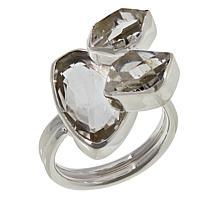 "Herkimer Mines Sterling Silver ""Diamond"" Quartz 3-Stone Ring"