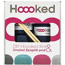 Hoooked Knit and Crochet Pouf Kit with Zpagetti Yarn - Sailor Blue
