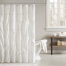 Ink + Ivy Masie Cotton Printed Shower Curtain - White