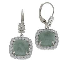 Jade of Yesteryear Sterling Silver Jade and CZ Square Drop Earrings