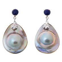 Jay King Mabé Pearl and Lapis Sterling Silver Earrings