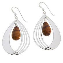 Jay King Sterling Silver Colored Gemstone Fancy Teardrop Earrings