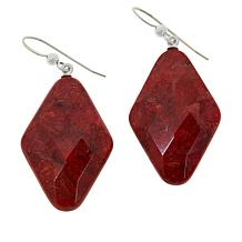 Jay King Sterling Silver Diamond-Shaped Red Coral Drop Earrings