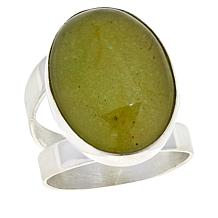 Jay King Sterling Silver Oval Moss Amber Ring