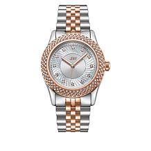 "JBW ""Carina"" Women's Silvertone and Rosetone 12-Diamond Bracelet Watch"