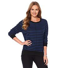 Jones NY Drop Shoulder Striped Pullover - Missy