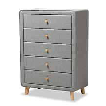 Jonesy Fabric Upholstered 5-Drawer Chest