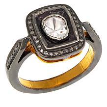 Joya 0.87ctw Polki Diamond Audrey Goldtone Ring