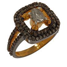 Joya Goldtone Polki Diamond Double Halo Ring